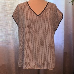 Size 14 blue and white short sleeved blouse